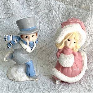 VTG Ice Skating Couple Ceramic Hand Painted